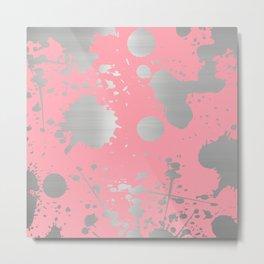 Silver Metallic Paint Splatter Metal Print