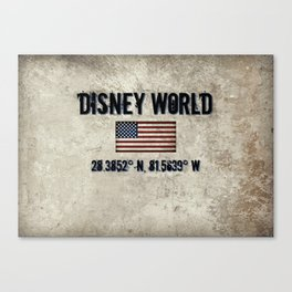The Longitude and. Latitude of WDW in Orlando, FL Canvas Print