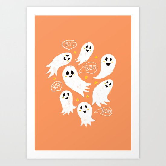 Friendly Ghosts on Orange by latheandquill