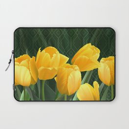 Yellow Tulips with Pattern Laptop Sleeve