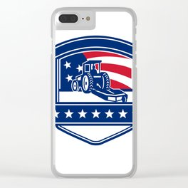 Brush Hogging Services USA Flag Badge Clear iPhone Case