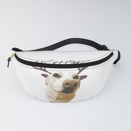Deer dog woof Christmas childrens brown white decor quotes society6 comic Fanny Pack