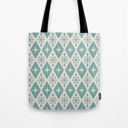Mid Century Modern Atomic Triangle Pattern 710 Green and Beige Tote Bag