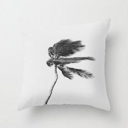 Grey Palm Tree Throw Pillow