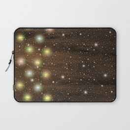 Christmas lights on wooden background Laptop Sleeve