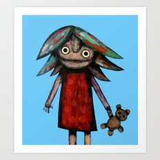 Girl vith teddy bear Art Print