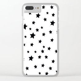 Black and White Stars Clear iPhone Case