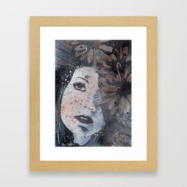 Lack Of Interest: Rust (graffiti dark lady with daisies) Framed Art Print