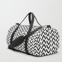 chevron black on white geometric pattern Duffle Bag
