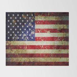 Grunge Vintage Aged American Flag Throw Blanket