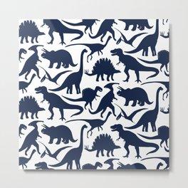 Little Dinosaur Friends - indigo Metal Print