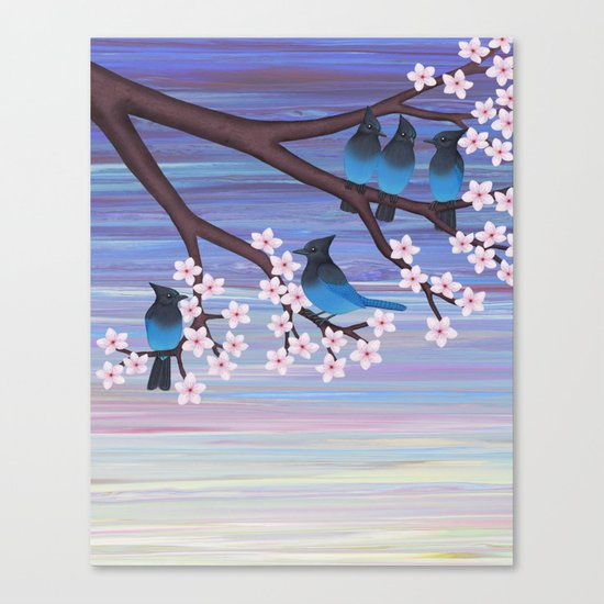 Steller's jays and cherry blossoms Canvas Print