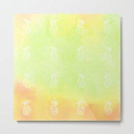 Pineapple Party 1 (Green) Metal Print