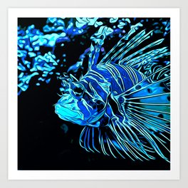 lionfish vector art blue Art Print