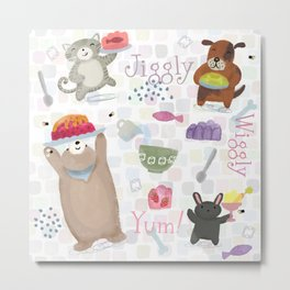 Bunny Dog Bear Cat Jello Treats Metal Print