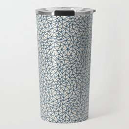 Blue Abstract Triangle Shape Pattern on Linen White - 2020 Color of the Year Chinese Porcelain Travel Mug