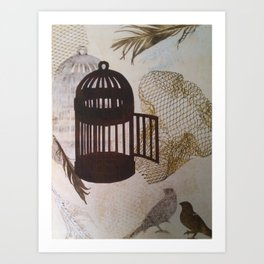cages and birds 3 Art Print