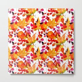 Watercolor autumn leaves Metal Print