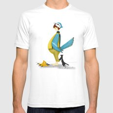 Blue Chickadee White SMALL Mens Fitted Tee