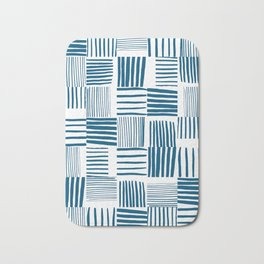 Torn Lines Abstract 03 White Blue Bath Mat