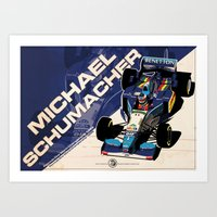 f1 Art Prints featuring Michael Schumacher - F1 1995 by Evan DeCiren