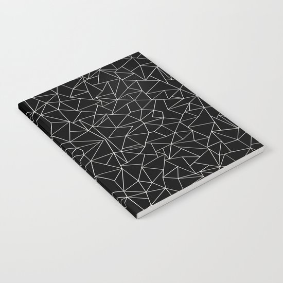 Abstract Collide Outline White on Black Notebook