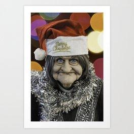 Christmas Grandma Bokeh Art Print