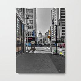 Downtown Indianapolis Photograph Color/Black & White Mashup Metal Print