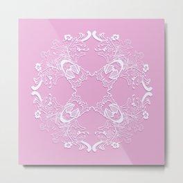 Romantic pink lace texture. Metal Print