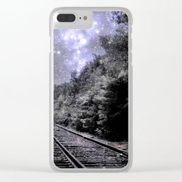 Train Tracks Next Stop Anywhere Periwinkle Gray Clear iPhone Case