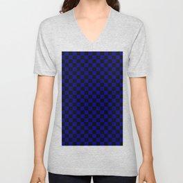 Black and Navy Blue Checkerboard Unisex V-Neck