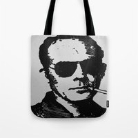 hunter s thompson Tote Bags featuring Hunter S. Thompson Linocut by CloudHotel