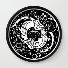 Zodiac Pisces Astrology Badge Black and White Wall Clock