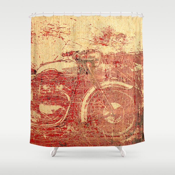 Triumph   Vintage Motorcycle Shower Curtain