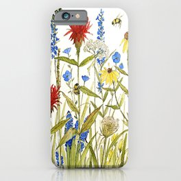 Garden Flower Bees Contemporary Illustration Painting iPhone Case