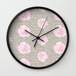 Watercolor roses on Taupe with French script Wall Clock
