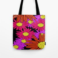 pushing daisies Tote Bags featuring Pushing Daisies by Lotus&Moon