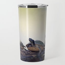 Three Florida  Turtles Sunning On A Log Travel Mug