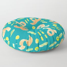 Turquoise and Orange Handprinted Pattern  Floor Pillow
