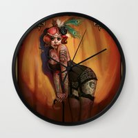 lydia martin Wall Clocks featuring Lydia by Rudy Faber