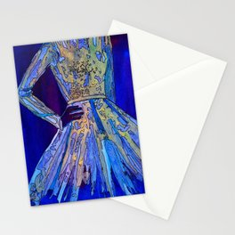 Elie Saab Blue Metallic Dress Stationery Cards