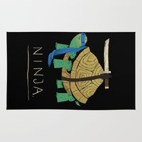 ninja turtle Area & Throw Rugs featuring ninja - blue by Louis Roskosch