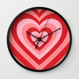 70s psychedelic pink heart Wall Clock