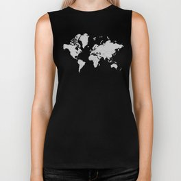 Minimalist World Map Gray on Black Background Biker Tank
