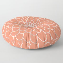 Coral Chrysanth Floor Pillow
