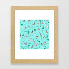 Christmas Flamingo Pattern Framed Art Print