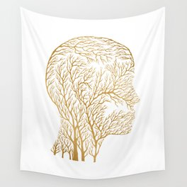 Head Profile Branches - Gold Wall Tapestry