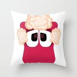 Bubble Beasts: Shocking Strawberry Fur Softener Throw Pillow