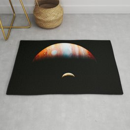 Jupiter And Its Volcanic Moon Io, Galaxy Background, Universe Large Print, Space Wall Art Decor Rug