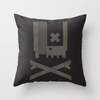 castlevania Throw Pillows featuring Nes Skull by Hector Mansilla